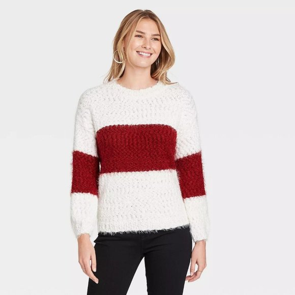 CREWNECK COLORBLOCK PULLOVER SWEATER HOUGE RED L